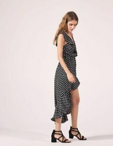 Sandro Black White Polka Dot Ruffle Dress Asymmetric Hi Low Summer Dress UK 10