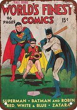 "7"" x 10"" Metal Sign - 1941 Superman, Batman & Robin Play Baseball - Vintage Look"