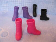 3pr Barbie Doll fashion 1990s Basic Dark Pink/Black/Purple Cuff Boots Shoes Lot