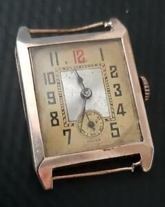1930's Gents Solid 9ct Rose Gold Rectangular Wristwatch 17 Jewell Manual Wind