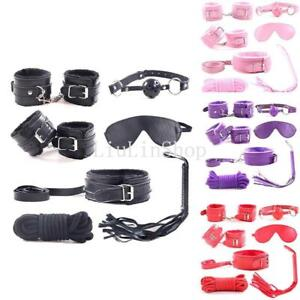 7Pcs Bondage Kit Handcuffs Ankle Shackles Mouth Plug Blinder Game Perfect Gift
