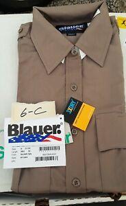 Blauer 8713WX, 8713X Short Sleeve Uniform Shirt Navy, Silver Tan