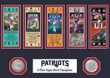 New England PATRIOTS  5x Super Bowl Tickets & Coins  Fridge Magnet 2.5 x 3.5