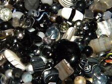 NEW 6/oz Black/ Gray/ Smoke /Silver MIXED LOOSE BEADS LOT GLASS Gemstone 6-20mm