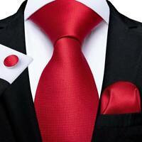 USA Silk Solid Classic Red Tie Set Mens Necktie Handkerchief Cufflinks Wedding