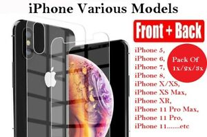 For iPhone 12 , 12 Pro Front and Back 360 Clear Tempered Glass Screen Protector