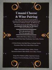 The Barre Bar & Eatery Arts Centre Melbourne Brochure Postcard