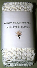 100% COTTON HAND CROCHETED DISH CLOTHS SET OF 3 White