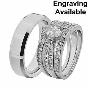 His & Hers White Stainless Steel Marquise CZ Wedding Set Tungsten Men Band BX