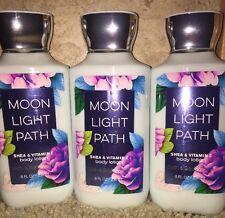 3 Bath & Body Works Body Lotion Moonlight Path 8fl Oz w/ Shea Butter &Vitamin E