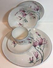 Sango Buffet Engagement 5Pc Place Setting Stoneware Pink/Mauve Flowers Gray Trim
