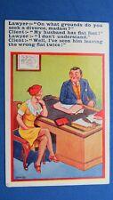 Risque Comic Postcard 1937 Nylons Stockings Lawyer Attorney DIVORCE Flat Feet