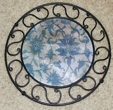 WROUGHT IRON TABLE TRIVET with TEMPERED GLASS INSERT - Floral Design