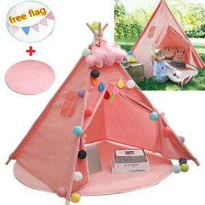 Kids Teepee Tent Large Canvas Wigwam Children Playhouse With Mat Indoor Outdoor