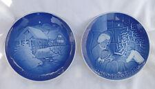 Vintage 2 Plates Blue Copenhagen Porcelain B&G Jule Aften 1975 & 1978 Christmas