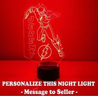 Flash Superhero Personalized Night Light Lamp Superhero Marvel LED with Remote