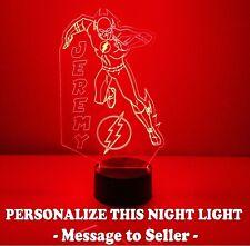 Flash Superhero Personalized Night Light Lamp Superhero Marvel LED with Remote