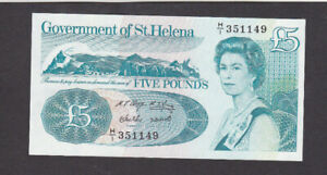 5 POUNDS AUNC BANKNOTE FROM ST HELENA 1976  PICK-7