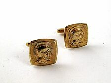 Vintage Gold Tone Greek / Roman Warrior Cufflnks By HICKOK USA 91716