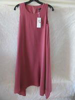 Eileen Fisher Silk Crepe de Chine Dress-Sharkbite Hem-Rosewood-Size XXS-NWT $358