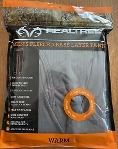Realtree Fleeced Pants Base Layer Size XLarge NEW Fitted Performance Grey