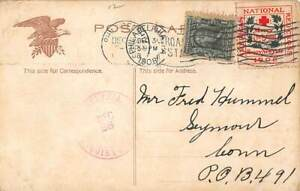 POSTCARD WITH TIED 1908 CHRISTMAS SEAL, RAILROAD DEPOT IN PHILADELPHIA PA VIEW
