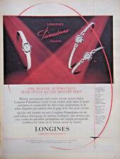 PUBLICITÉ DE PRESSE 1958 MONTRE LONGINES PRIMADONNA AUTOMATIC POUR DAMES