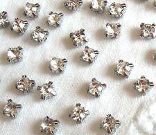 200 x Sew on Crystal Clear Vintage Look Glass Diamante  Rhinestones Silver 4mm