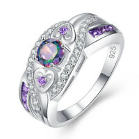 Double Heart Amethyst & Rainbow White Topaz Gemstone Silver Ring Size 6 7 8 9 10