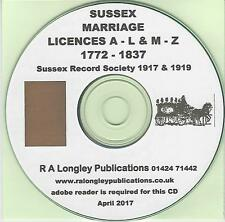 Sussex Marriage Licenses 1772 - 1837 [A-L & M-Z] CD