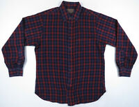 Vintage 90s Pendleton Sir Virgin Wool Blue Red Plaid Mens Long Sleeve Shirt L