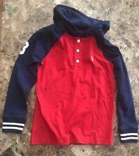 New Ralph Lauren Boys Hooded long sleeve Shirt, Yellow Pony Size XL (18-20) NWT