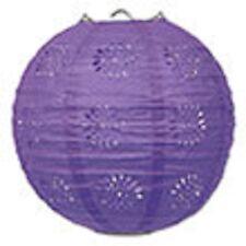 "3 purple paper lace pattern lanterns 8"" diameter wedding party decorations"