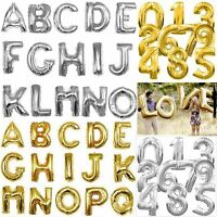 "16"" Fashion Gold/Silver Foil Letter Number Balloons Birthday Wedding Party Decor"
