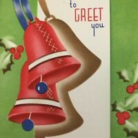 Vintage Mid Century Christmas Greeting Card Jingle Bells Red Blue Lime Art Deco