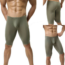 Herren Leggings 3/4 Hose Sport Shorts enganliegend Olive Grün Neu L/XL
