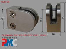 Edelstahl V2A Glashalter Anschluss flach Glasklemme Glass Clamp