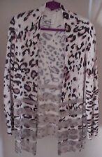 CHICO'S Sz 3 Leopard Cheetah Animal Print Long Open Sweater Cardigan w/Metallics