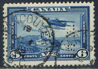 "Canada #OC6(8) PERFIN 6 cent Monoplane OFFICIAL ""O.H.M.S."" VANCOUVER B.C. OCT 42"