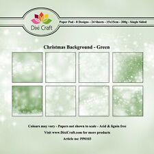 New Dixi Craft 15cm x 15cm Paper Pad Christmas Background - Green