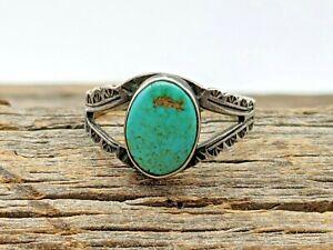 Vintage Sterling Southwestern Turquoise Stamped Split Shank Ring Sz 5 1/2