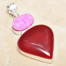 "Handmade Cherry Ruby Natural Gemstone 925 Sterling Silver Pendant 2.5"" #P07898"