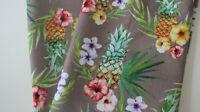 NEU Dekostoff Canvas - Baumwolle  50 x 140 cm Leinenoptik Ananas auf taupe
