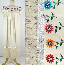VTG Long Peasant Maxi BoHo DRESS Ivory Cotton Gauze Embroidery Flowers Lace