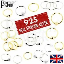 925 STERLING SILVER NOSE RINGS HOOP WITH BALL 8mm - 10mm FAKE PIERCING CARTILAGE