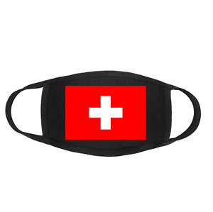SWITZERLAND Swiss Flag Protective Face Mask Covering - Reusable & Washable Black