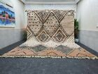 "Moroccan Handmade Beni Ourain Rug 10'x13'6"" Berber Geometric Brown White Carpet"