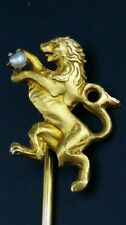 ANTIQUE 10K Solid Yellow Gold Seed Pearl Figural LION Stick Tie Tack Collar Pin