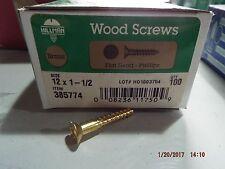 Brass Phillips Head Flat Wood Screws #12 x 1-1/2