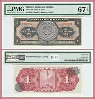 1970 Mexico 1 Peso PMG 67 EPQ Superb Gem Uncirculated Mexican Banknote Currency